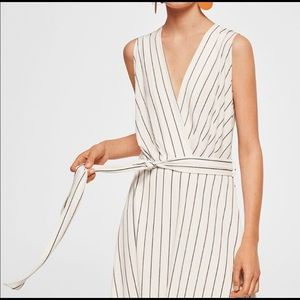 MANGO New Black and White Striped Wrap Dress